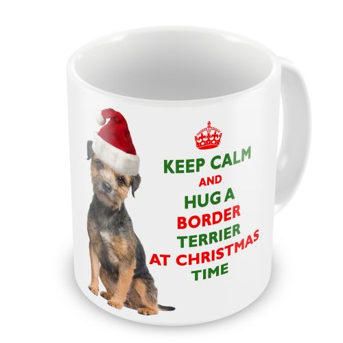 Christmas Keep Calm And Hug A Border Terrier Novelty Gift Mug